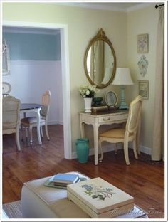 My vanity/mirror is also tucked into a corner - love the turquoise accents