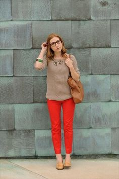 Red Pants + Neutrals :: member @Kayley Heeringa