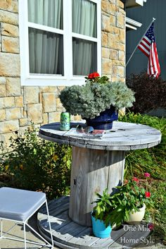 White Washed Wooden Spool Table After - One Mile Home Style