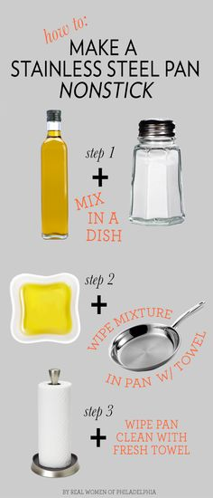 How to make a stainless steel pan nonstick with three easy steps #DIY #Cooking