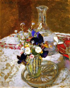 Bouquet of Pansies, Myosotis and Daisies in front of a Carafe, on a Table / Edouard Vuillard - circa 1900-1901