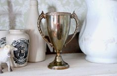 Vintage Gold Tone Loving Cup Trophy Piece by vintagegoodness1 - $35