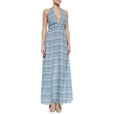 Love Shack Fancy Striped Halter Maxi Dress ($138) ❤ liked on Polyvore featuring dresses, turquoise multi, stripe maxi dress, long beach dresses, halter top, empire maxi dress and blue maxi dress