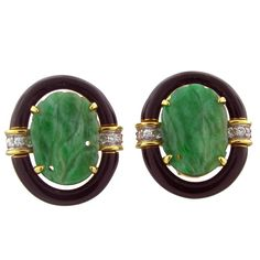 DAVID WEBB Carved Jade Gold Diamond Platinum Earrings | From a unique collection of vintage more rings at https://www.1stdibs.com/jewelry/rings/more-rings/