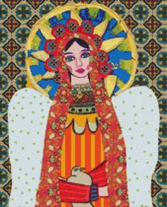 Modern cross stitch kit by Heather Galler Angel Virgin of Guadalupe Mexican Folk Art - Counted cross stitch via Etsy