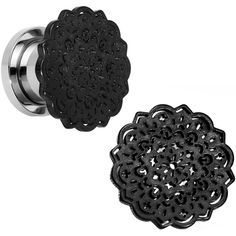 00 Gauge Steel Black IP Lotus Screw Fit Double Flare Plug Set | Body Candy Body Jewelry