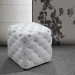 $215.00 Vig Furniture - White Leather Pouf With Crystals - VG2T0419G