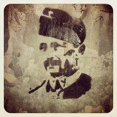 Street art stencil of Finland's WWII Commander-in-Chief and 6th president Carl Gustaf Emil Mannerheim. Telecoms cabinet, Kaivopuisto Park, Helsinki.