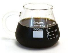 Laboratory glassware quality scientific coffee drinking mug. COOL!