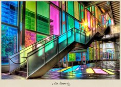 The Rainbow windows of Palais des Congrès in Montreal, Canada  by Ken Kaminesky