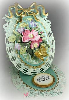 Easel card, made with dies, paper and flower from Anna Griffin. Anna Griffin Inc, Anna Griffin Cards, Handmade Birthday Cards, Greeting Cards Handmade, Birthday Crafts, Card Making Inspiration, Making Ideas, Heartfelt Creations Cards, Spellbinders Cards