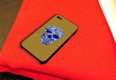 Blue Floral Skull Sugar Skull iPhone 4 iPhone 4S Case by caseboy, $15.79