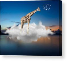 Giraffe Canvas Print featuring the mixed media Up And Away by Marvin Blaine