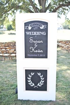 Salvaged Door Converted to Welcome Sign with Chalboard | See this wedding on SMP: http://www.StyleMePretty.com/midwest-weddings/2013/12/09/st-louis-wedding-at-kuhs-farm/White-Klump Photography
