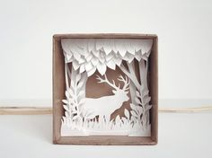 White Forest shadow box papercut silhouette by Papercutout, Etsy