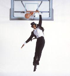 Michigan State's Magic Johnson dunks in a tuxedo during an SI photo shoot on Oct. 14, 1978. (Lane Stewart/SI) GALLERY: Rare SI Photos of Magic Johnson