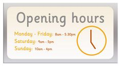 10 best opening hours sign images on pinterest kiosk shop windows opening hours signrsatile role play opening hours sign ideal to use flashek Images