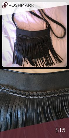 Crossbody fringe purse Super cute. Boho gypsy style. Great condition. Grey in color. Bags Crossbody Bags