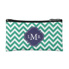 Emerald Green and Blue Zigzags Monogram Cosmetic Bag