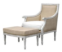 "hanna chair & ottoman  upholstered chair and ottoman with carved details  trim detail: yardage: shown in:       * raffia chair comes w/ white herringbone cushion  ordered  28""W x 28""D x 37""H  23""D x 21""H  28""W x 19""D x 15""  antiqued white, chalk, silver  gold or silver details  grades A, B, C, D, E, F, G, H, I  leather - nailheads  raffia - spaced nailheads  mohair, white herringbone, wool - welting"