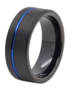 Men's ring, black, blue, tungsten, pipe cut, everything you've been asking for in a wedding band.