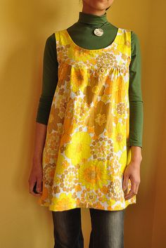 Yellow flower tunic by mame*, via Flickr  Great use of recycled vintage sheets.