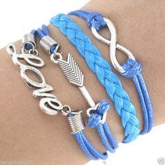 Anti-Silver Infinity Sword Love Charm Blue Leather Wrap European Bracelet