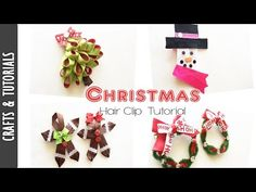 here are some ideas to make these cute clips for your daughters or you could use them as corsages too. Why Christmas, Christmas Hair, Merry Christmas, Christmas Ornaments, Christmas Videos, Origami Ribbon, Hair Bow Tutorial, Some Ideas, Craft Tutorials