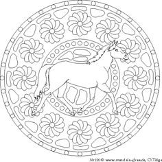 mandala for children - four beautiful ponies and small