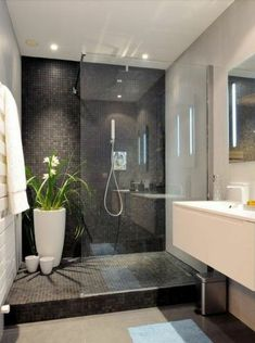 Badezimmer Ideen bathroom design ideas beautiful bathroom with gray mosaic tiles and white sink Abou Bad Inspiration, Bathroom Inspiration, Bathroom Design Small, Bathroom Interior Design, Toilette Design, Bad Styling, Shower Cubicles, Bathroom Photos, White Sink