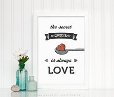 Mother's day gift, Mother's day present, kitchen print, kitchen wall art Kitchen Posters, Kitchen Prints, Kitchen Wall Art, Typography Prints, Quote Prints, Mothers Day Gifts Uk, Latte, Christmas Gifts For Mum, Love Posters