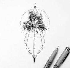 geometric tree tattoo   Tumblr