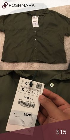 ZARA Cropped Military Green Button-Up Cropped fit, boxy fit. Never worn. Zara Tops Button Down Shirts