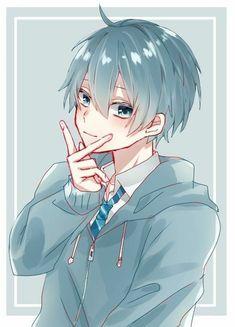 Anime Boys, Cool Anime Guys, Handsome Anime Guys, Cute Anime Boy, Comic Anime, Manga Anime, Cute Anime Character, Character Art, Anime Blue Hair