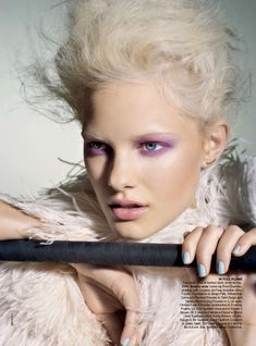 A violet wash of color from makeup artist Justine Purdue for Vogue Australia, photo by Max Doyle.