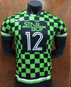 2018-19 Nigeria Black Green Lattice  12 Thailand Soccer Training Jersey-407 fbdb96be0