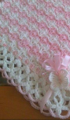 Baby Girl Crochet Blanket, Free Baby Blanket Patterns, Crochet Baby Blanket Free Pattern, Baby Knitting Patterns, Crochet Shell Stitch, Diy Crafts, Blankets, Crochet Baby Pants, Crochet Lace Tops