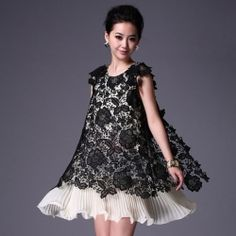 $16.29 Exquisite Scoop Neck Embroidery Floral Print Openwork Color-Match Chiffon Lace Pleated Dress For Women