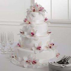 Tartas de boda con orquídeas: fotos ideas originales - Tarta con orquídeas rosas
