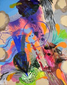 The Flock of Ostriches acrylic abstract by PippiLeePresents