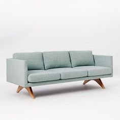 """Brooklyn Upholstered Sofa / Location: Reception / Size: 81""""W x 35.5""""D x 30""""h / Fabric & Color: Linen weave in Seafoam / Lead Time: 2-4 wks / Cost: $1,199 on sale"""