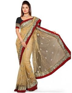 Delightful Beige Saree Item code : SUTI129  http://www.bharatplaza.com/new-arrivals/sarees/delightful-beige-saree-suti129.html