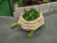 Turtle planter from landscaping timbers