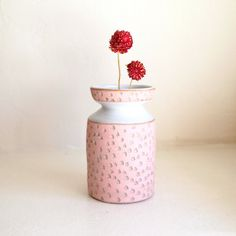 Ceramic Pink Carved Cinched Vase by lovebugkiko on Etsy