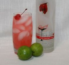 Cherry Vodka Limeade 2 ounces cherry vodka (I used Three Olives Brand)   1 ounce lime juice (fresh squeezed or I used juice from concentrate)   4 ounces Sprite (or 7-up...I used diet 7-up)   1/2 ounce cherry juice (from the jar of cherries or find it bottled in the mixed drink section at your grocery store)   1 maraschino cherry
