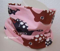 Kinder Mädchen Loop Schlupfschal Whale Wal Babywal Punkte Dots Jersey NOSH