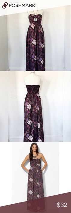 Band of Gypsies Ruched-Front Maxi Dress NWOT Never wore, new without tags.  Silk-like fabric ina beautiful boho print.  Extra small. Band of Gypsies.  Strapless. New without tags. Band of Gypsies Dresses Maxi