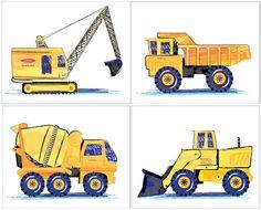 Tonka Trucks Vintage Construction Retro Art by sweetpeasartstudio2, $22.99