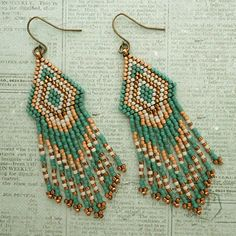 Linda's Crafty Inspirations: Native American Fringe Earrings - Teal & Bronze