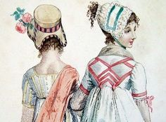 Illustration from Modes et Manieres Du Jour, 1798 – 1808 I have changed my mind, & changed the trimmings on my Cap this morning, they are now much as you suggested, – I felt as if I… Regency Dress, Regency Era, Jane Austen, Rey George, Retro Vintage, Bonnet Cap, Lady Jane, Empire Style, Historical Clothing